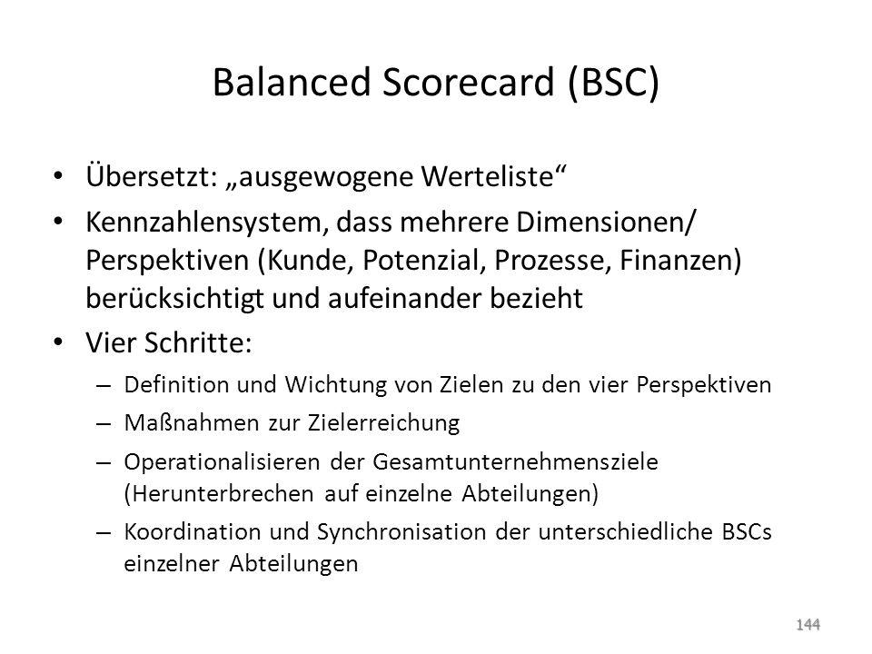 """Balanced Scorecard (BSC) Übersetzt: """"ausgewogene Werteliste"""" Kennzahlensystem, dass mehrere Dimensionen/ Perspektiven (Kunde, Potenzial, Prozesse, Fin"""