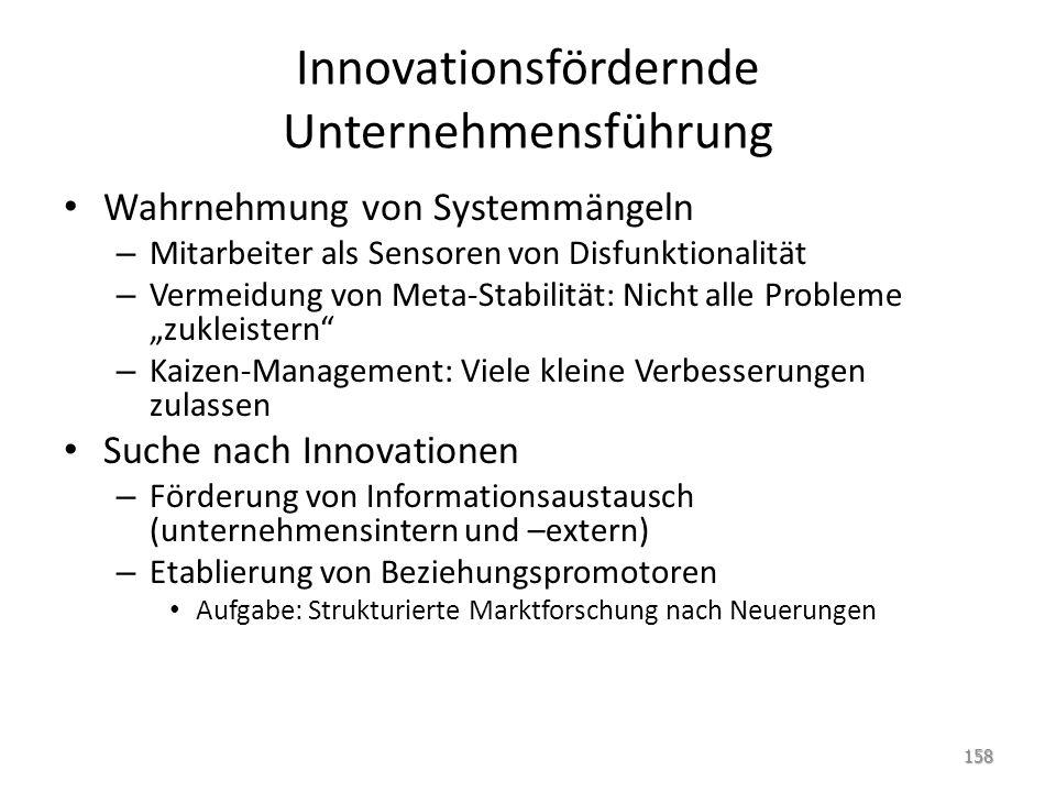 Innovationsfördernde Unternehmensführung Wahrnehmung von Systemmängeln – Mitarbeiter als Sensoren von Disfunktionalität – Vermeidung von Meta-Stabilit