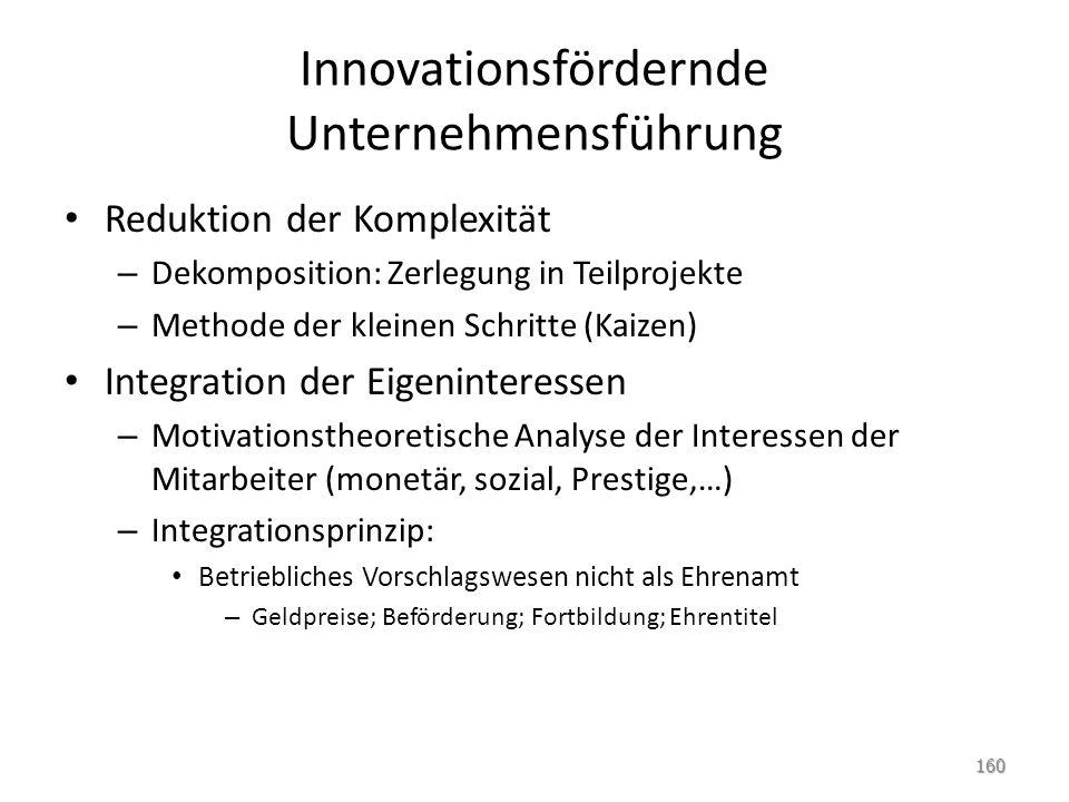 Innovationsfördernde Unternehmensführung Reduktion der Komplexität – Dekomposition: Zerlegung in Teilprojekte – Methode der kleinen Schritte (Kaizen)
