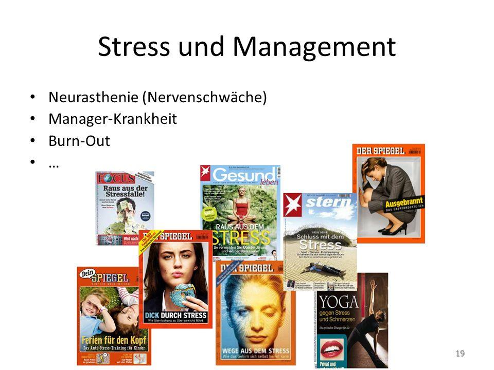 Stress und Management 19 Neurasthenie (Nervenschwäche) Manager-Krankheit Burn-Out …