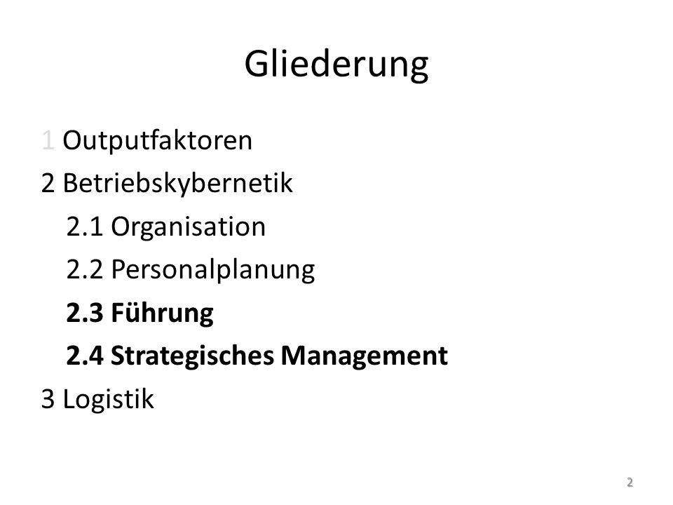 Gliederung 2.3 Führung 2.3.1 Persönlichkeit und Führung 2.3.1.1 Kompetenzmodelle 2.3.1.2 Motivationstheorien 2.3.1.3 Persönlichkeitsmodelle 2.3.1.3.1 Bedeutung 2.3.1.3.2 Modelle 2.3.1.4 Rollenmodelle 2.3.1.5 Liebe und Führung 2.3.1.6 Äußere Erscheinung der Führungskraft 2.3.2 Führungsethik 3