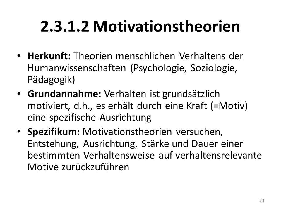 2.3.1.2 Motivationstheorien Herkunft: Theorien menschlichen Verhaltens der Humanwissenschaften (Psychologie, Soziologie, Pädagogik) Grundannahme: Verh