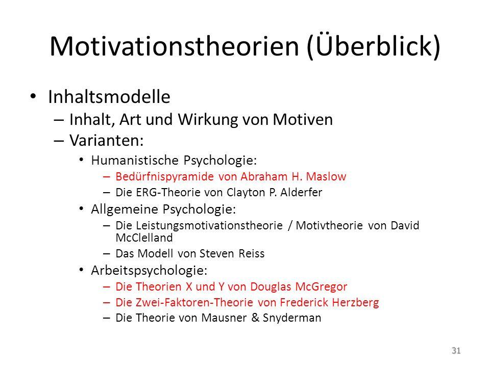 Motivationstheorien (Überblick) Inhaltsmodelle – Inhalt, Art und Wirkung von Motiven – Varianten: Humanistische Psychologie: – Bedürfnispyramide von A
