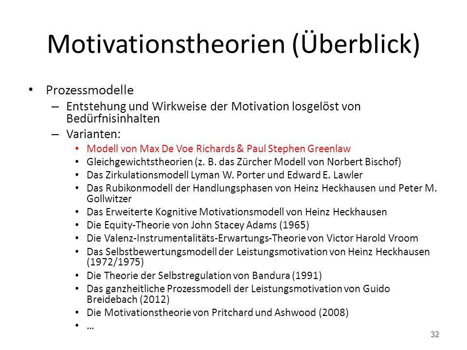 Motivationstheorien (Überblick) Prozessmodelle – Entstehung und Wirkweise der Motivation losgelöst von Bedürfnisinhalten – Varianten: Modell von Max D