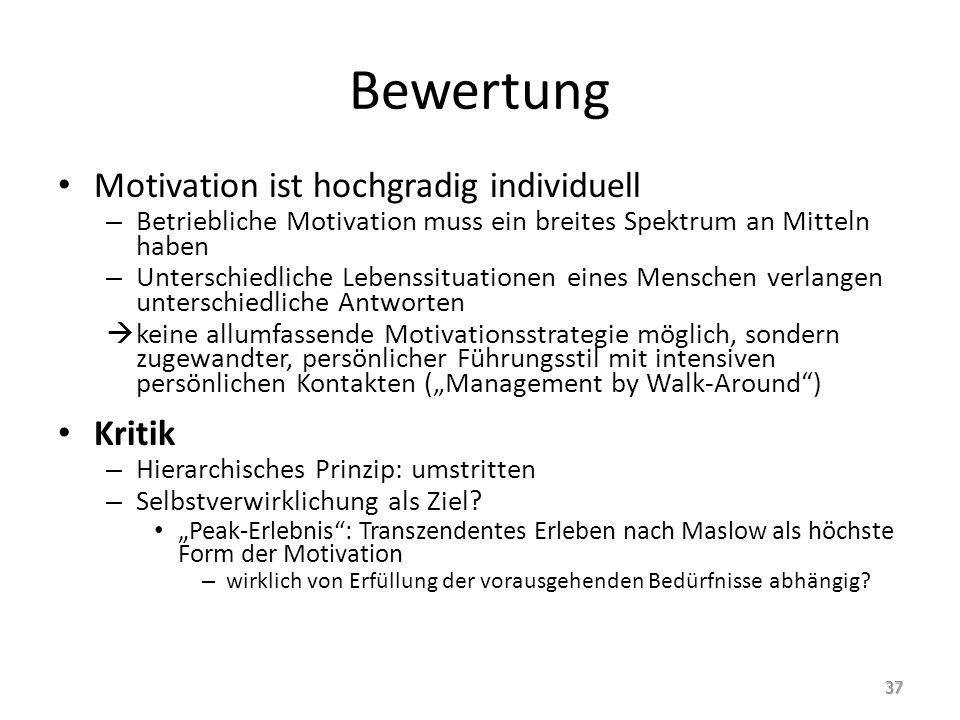Bewertung Motivation ist hochgradig individuell – Betriebliche Motivation muss ein breites Spektrum an Mitteln haben – Unterschiedliche Lebenssituatio