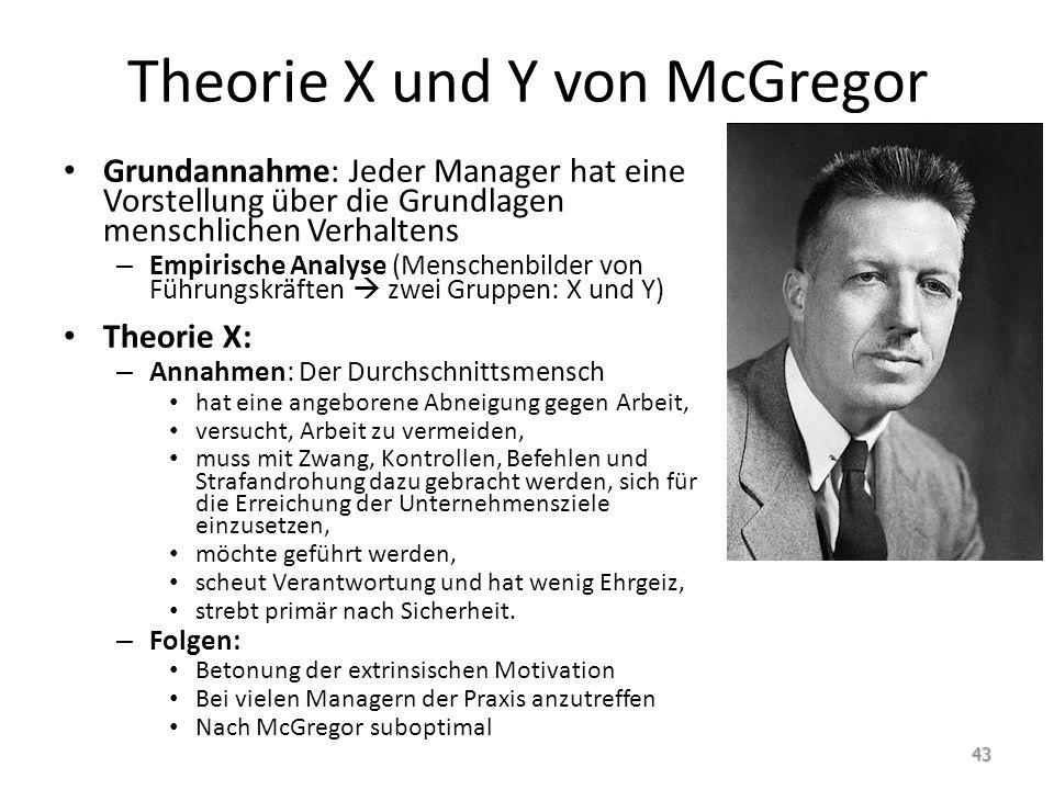 Theorie X und Y von McGregor Grundannahme: Jeder Manager hat eine Vorstellung über die Grundlagen menschlichen Verhaltens – Empirische Analyse (Mensch