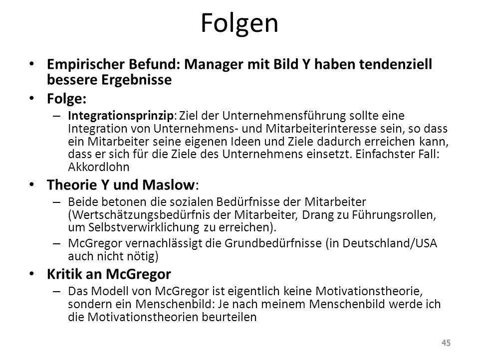 Folgen Empirischer Befund: Manager mit Bild Y haben tendenziell bessere Ergebnisse Folge: – Integrationsprinzip: Ziel der Unternehmensführung sollte e