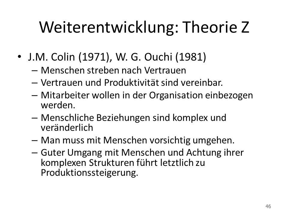 Weiterentwicklung: Theorie Z J.M. Colin (1971), W. G. Ouchi (1981) – Menschen streben nach Vertrauen – Vertrauen und Produktivität sind vereinbar. – M