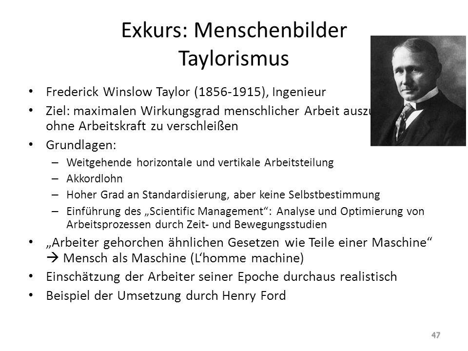 Exkurs: Menschenbilder Taylorismus Frederick Winslow Taylor (1856-1915), Ingenieur Ziel: maximalen Wirkungsgrad menschlicher Arbeit auszunutzen, ohne