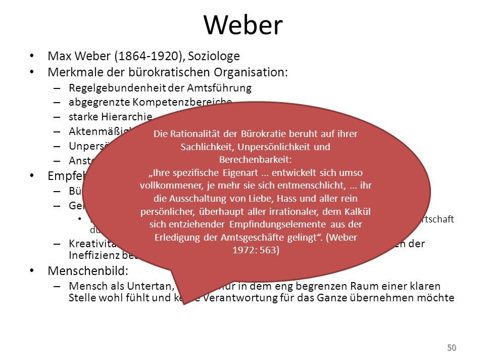 Weber Max Weber (1864-1920), Soziologe Merkmale der bürokratischen Organisation: – Regelgebundenheit der Amtsführung – abgegrenzte Kompetenzbereiche –