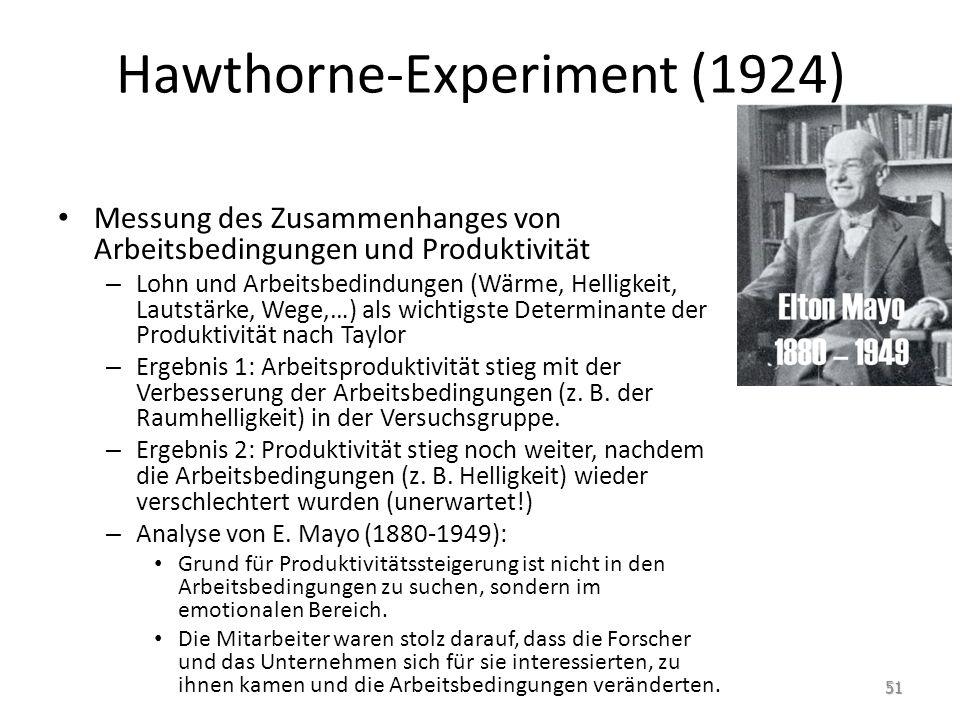 Hawthorne-Experiment (1924) Messung des Zusammenhanges von Arbeitsbedingungen und Produktivität – Lohn und Arbeitsbedindungen (Wärme, Helligkeit, Laut