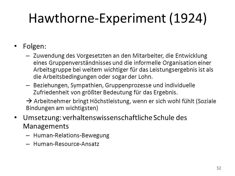 Hawthorne-Experiment (1924) Folgen: – Zuwendung des Vorgesetzten an den Mitarbeiter, die Entwicklung eines Gruppenverständnisses und die informelle Or