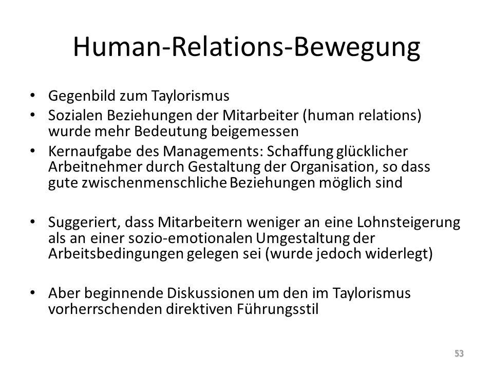 Human-Relations-Bewegung Gegenbild zum Taylorismus Sozialen Beziehungen der Mitarbeiter (human relations) wurde mehr Bedeutung beigemessen Kernaufgabe