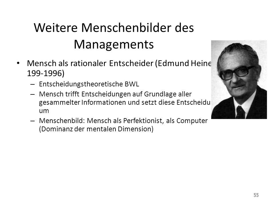 Weitere Menschenbilder des Managements Mensch als rationaler Entscheider (Edmund Heinen, 199-1996) – Entscheidungstheoretische BWL – Mensch trifft Ent