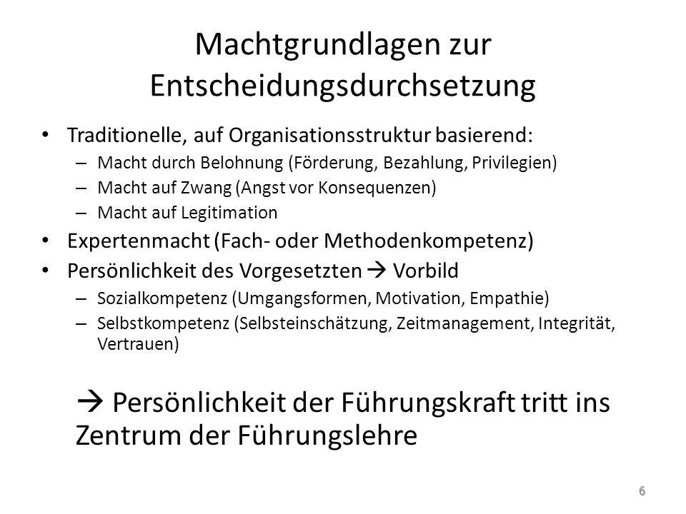 2.3.1 Persönlichkeit und Führung 2.3.1.1 Kompetenzmodelle Kompetenzen – Fachkompetenz Rechtliche, institutionelle, organisatorische Kenntnisse durch Vorlesungen, Selbststudium etc.