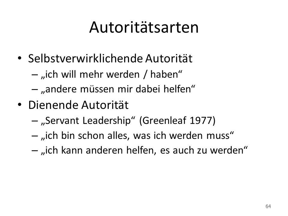 """Autoritätsarten Selbstverwirklichende Autorität – """"ich will mehr werden / haben"""" – """"andere müssen mir dabei helfen"""" Dienende Autorität – """"Servant Lead"""