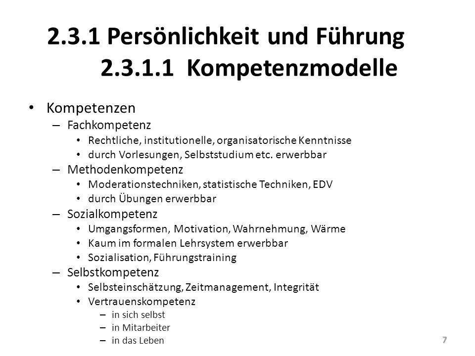 2.3.1 Persönlichkeit und Führung 2.3.1.1 Kompetenzmodelle Kompetenzen – Fachkompetenz Rechtliche, institutionelle, organisatorische Kenntnisse durch V