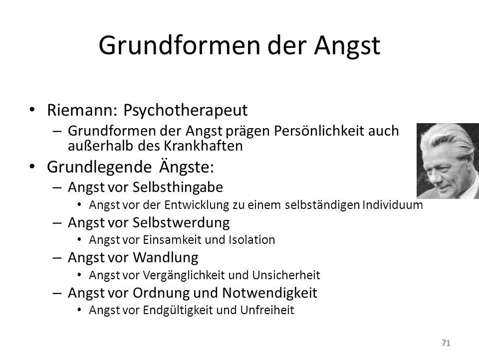 Grundformen der Angst Riemann: Psychotherapeut – Grundformen der Angst prägen Persönlichkeit auch außerhalb des Krankhaften Grundlegende Ängste: – Ang