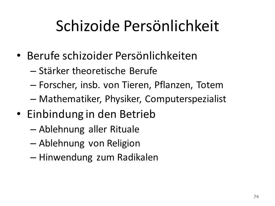 Schizoide Persönlichkeit Berufe schizoider Persönlichkeiten – Stärker theoretische Berufe – Forscher, insb. von Tieren, Pflanzen, Totem – Mathematiker