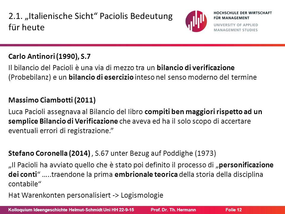 "Kolloquium Ideengeschichte Helmut-Schmidt Uni HH 22-9-15Prof. Dr. Th. Hermann Folie 12 2.1. ""Italienische Sicht"" Paciolis Bedeutung für heute Carlo An"