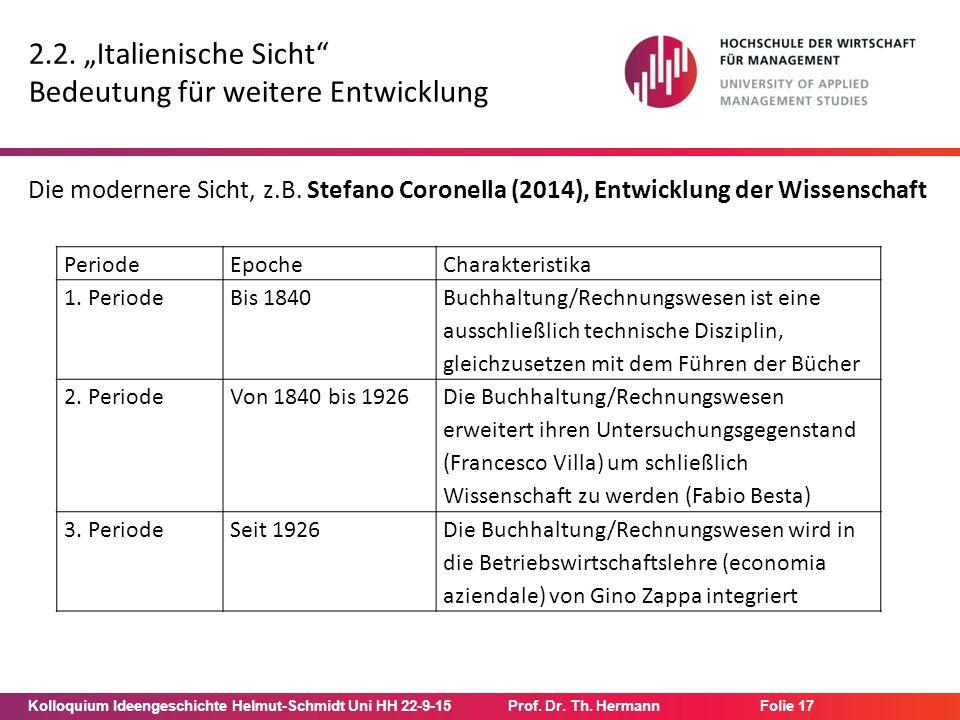 """Kolloquium Ideengeschichte Helmut-Schmidt Uni HH 22-9-15Prof. Dr. Th. Hermann Folie 17 2.2. """"Italienische Sicht"""" Bedeutung für weitere Entwicklung Die"""