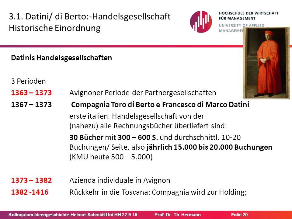 Kolloquium Ideengeschichte Helmut-Schmidt Uni HH 22-9-15Prof. Dr. Th. Hermann Folie 20 3.1. Datini/ di Berto:-Handelsgesellschaft Historische Einordnu