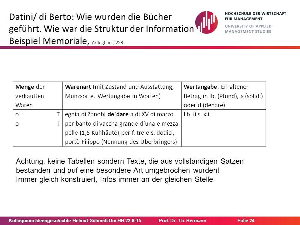 Kolloquium Ideengeschichte Helmut-Schmidt Uni HH 22-9-15Prof. Dr. Th. Hermann Folie 24 Datini/ di Berto: Wie wurden die Bücher geführt. Wie war die St