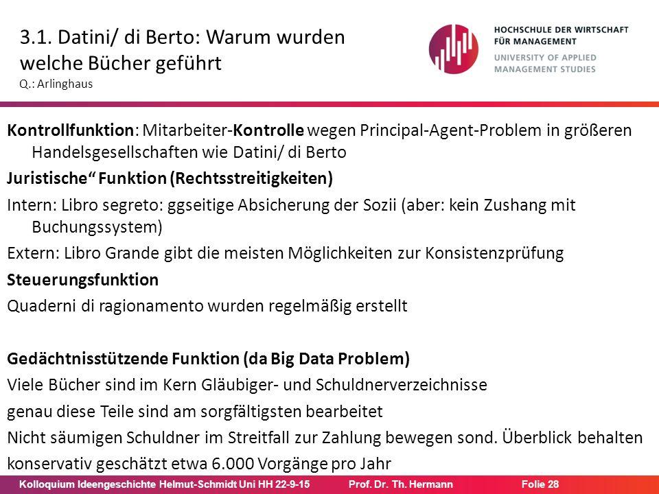 Kolloquium Ideengeschichte Helmut-Schmidt Uni HH 22-9-15Prof. Dr. Th. Hermann Folie 28 3.1. Datini/ di Berto: Warum wurden welche Bücher geführt Q.: A