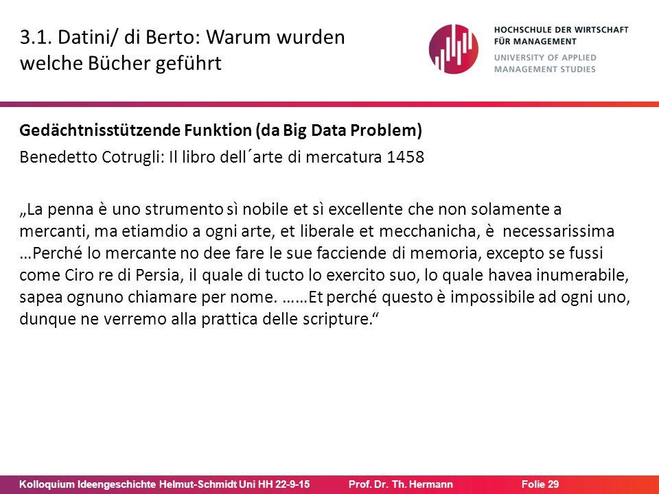 Kolloquium Ideengeschichte Helmut-Schmidt Uni HH 22-9-15Prof. Dr. Th. Hermann Folie 29 3.1. Datini/ di Berto: Warum wurden welche Bücher geführt Gedäc