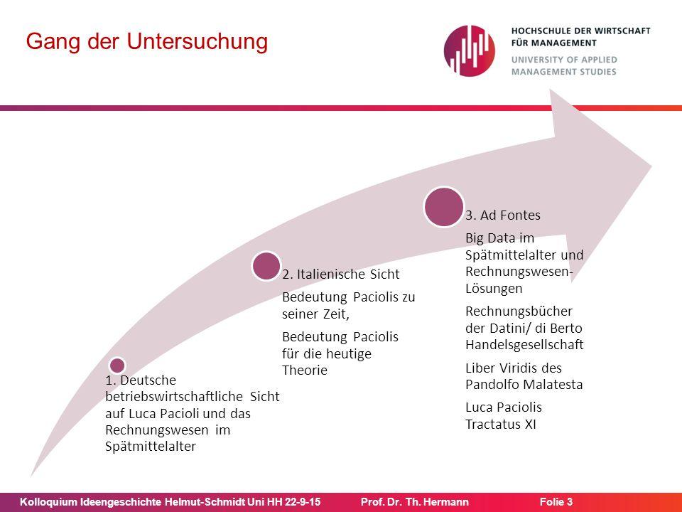 Kolloquium Ideengeschichte Helmut-Schmidt Uni HH 22-9-15Prof. Dr. Th. Hermann Folie 3 Gang der Untersuchung 1. Deutsche betriebswirtschaftliche Sicht