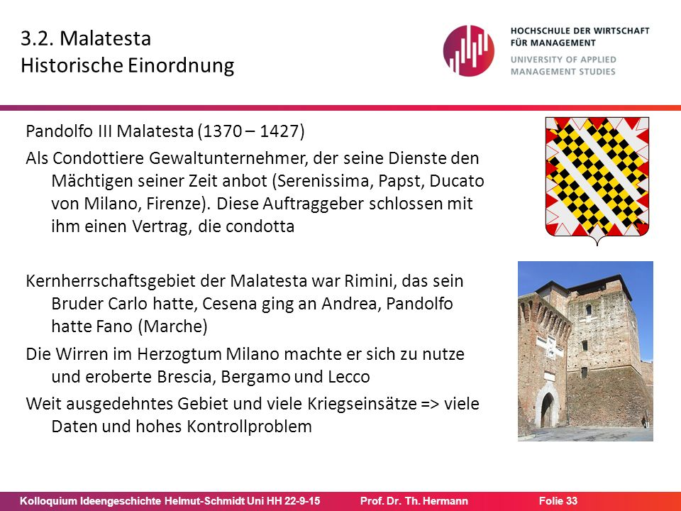 Kolloquium Ideengeschichte Helmut-Schmidt Uni HH 22-9-15Prof. Dr. Th. Hermann Folie 33 3.2. Malatesta Historische Einordnung Pandolfo III Malatesta (1