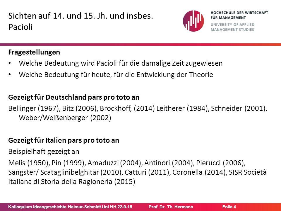 Kolloquium Ideengeschichte Helmut-Schmidt Uni HH 22-9-15Prof. Dr. Th. Hermann Folie 4 Sichten auf 14. und 15. Jh. und insbes. Pacioli Fragestellungen
