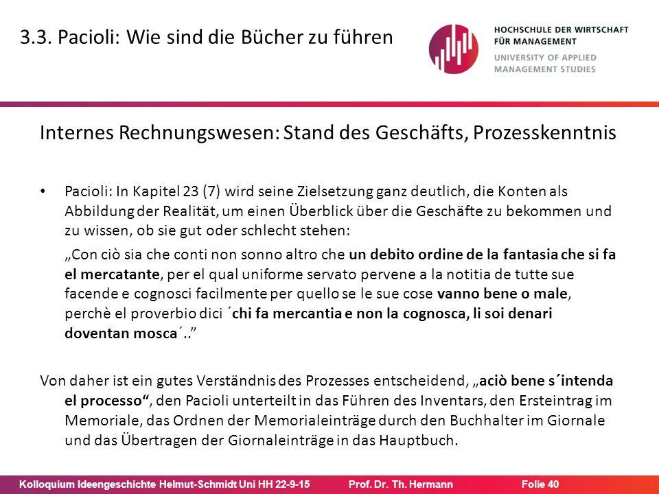 Kolloquium Ideengeschichte Helmut-Schmidt Uni HH 22-9-15Prof. Dr. Th. Hermann Folie 40 3.3. Pacioli: Wie sind die Bücher zu führen Internes Rechnungsw