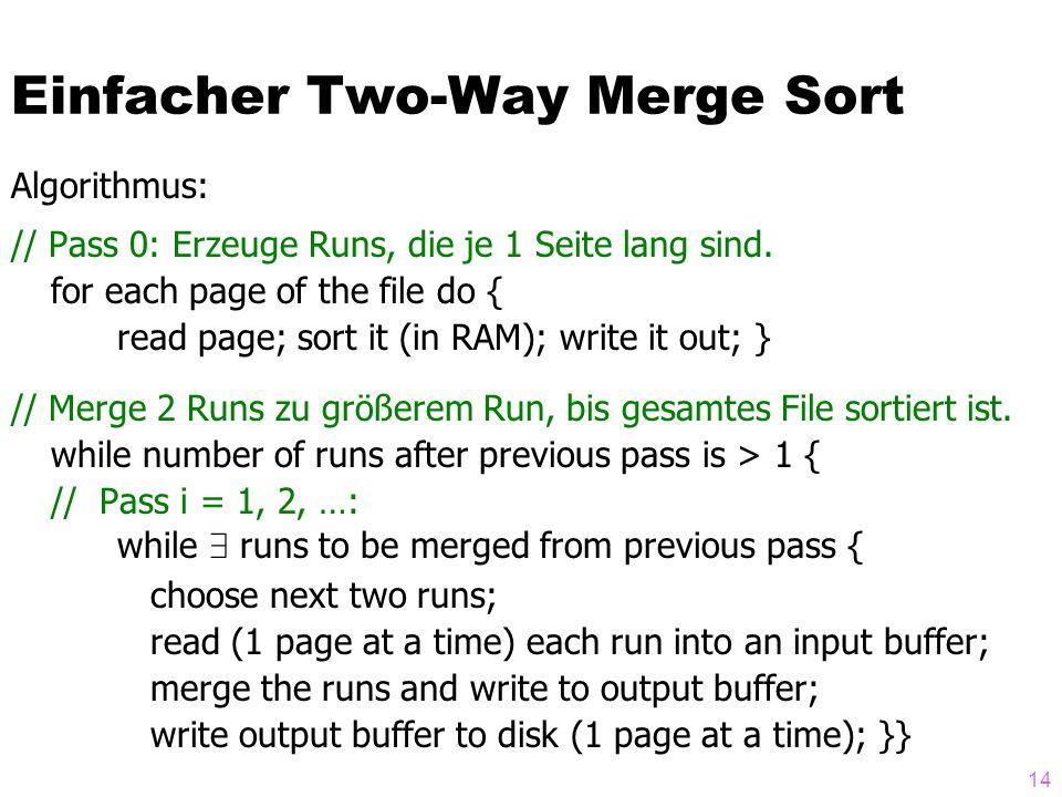 14 Algorithmus: // Pass 0: Erzeuge Runs, die je 1 Seite lang sind.