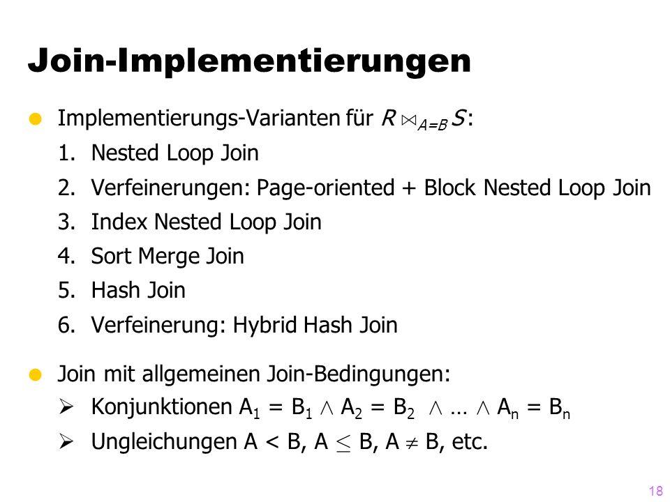 18  Implementierungs-Varianten für R A A=B S : 1.Nested Loop Join 2.Verfeinerungen: Page-oriented + Block Nested Loop Join 3.Index Nested Loop Join 4