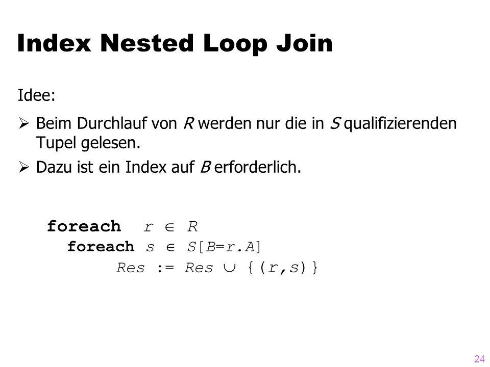 24 Idee:  Beim Durchlauf von R werden nur die in S qualifizierenden Tupel gelesen.  Dazu ist ein Index auf B erforderlich. foreach r  R foreach s 