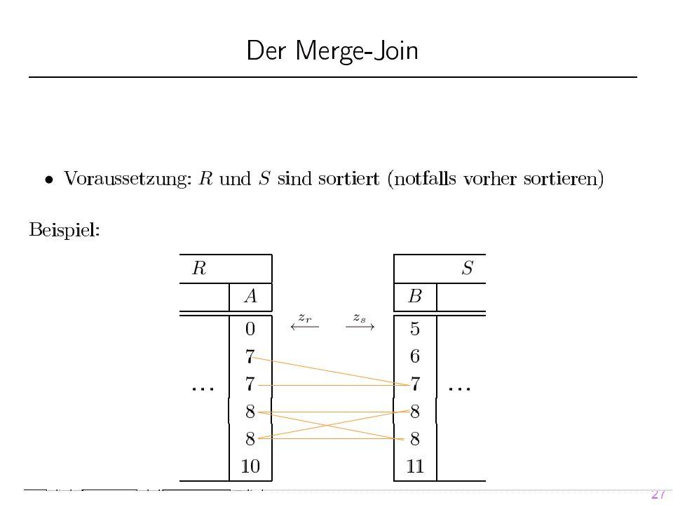 28 Idee: (für m Seiten Puffergröße) Phase 1: Build (oder Partition )-Phase:  R und S werden mit Hilfe der gleichen Hashfunktion h1 (angewendet auf R.A bzw.