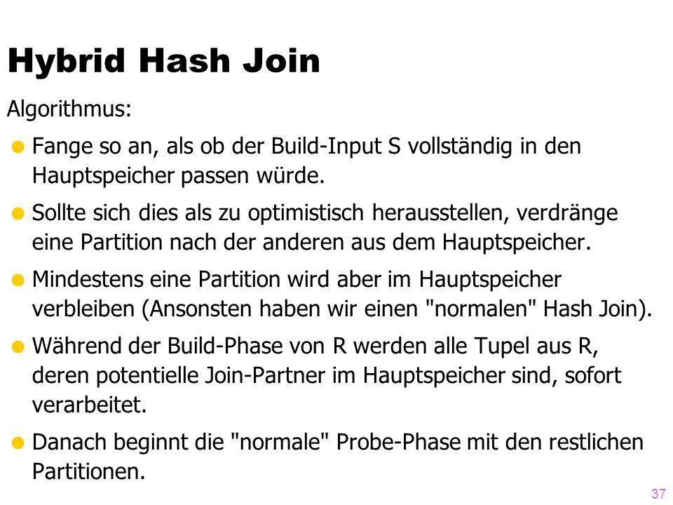 37 Hybrid Hash Join Algorithmus:  Fange so an, als ob der Build-Input S vollständig in den Hauptspeicher passen würde.  Sollte sich dies als zu opti