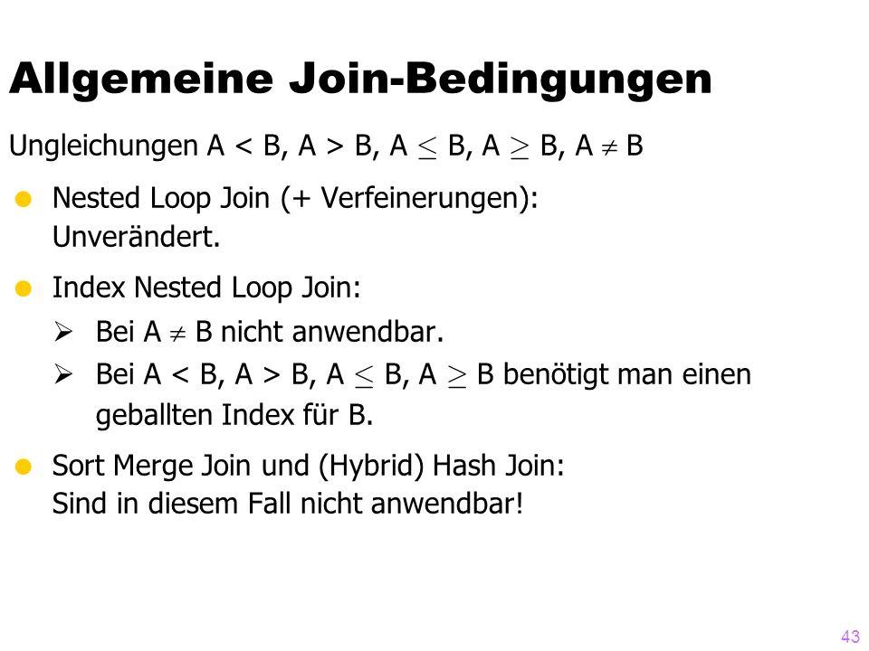 43 Allgemeine Join-Bedingungen Ungleichungen A B, A · B, A ¸ B, A  B  Nested Loop Join (+ Verfeinerungen): Unverändert.