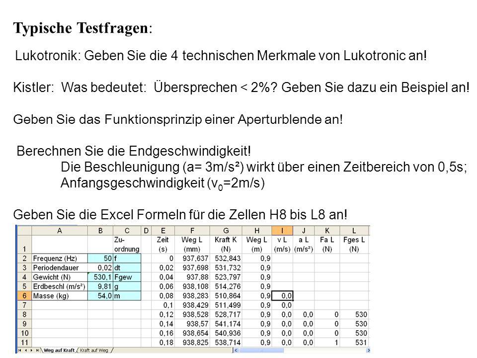 Typische Testfragen: Lukotronik: Geben Sie die 4 technischen Merkmale von Lukotronic an! Kistler: Was bedeutet: Übersprechen < 2%? Geben Sie dazu ein