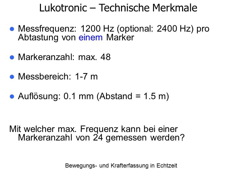 Bewegungs- und Krafterfassung in Echtzeit Messfrequenz: 1200 Hz (optional: 2400 Hz) pro Abtastung von einem Marker Markeranzahl: max. 48 Messbereich: