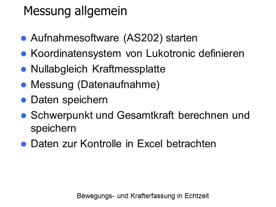 Bewegungs- und Krafterfassung in Echtzeit Messung allgemein Aufnahmesoftware (AS202) starten Koordinatensystem von Lukotronic definieren Nullabgleich