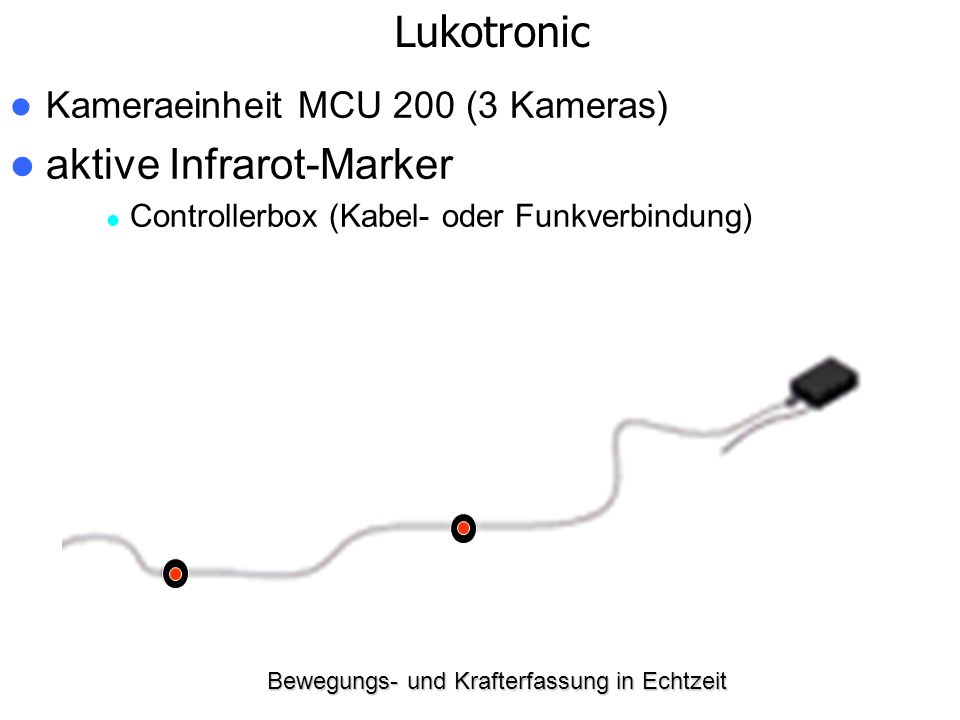 Bewegungs- und Krafterfassung in Echtzeit Kameraeinheit MCU 200 (3 Kameras) aktive Infrarot-Marker Controllerbox (Kabel- oder Funkverbindung) Lukotron