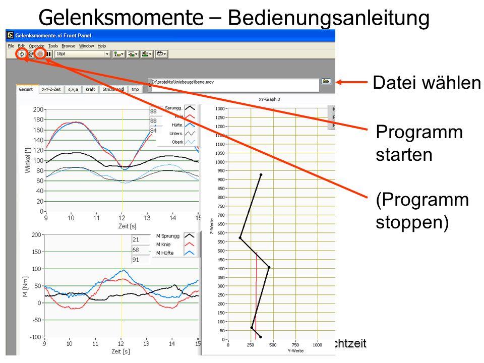 Bewegungs- und Krafterfassung in Echtzeit Gelenksmomente – Bedienungsanleitung Datei wählen Programm starten (Programm stoppen)