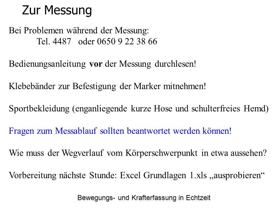 Bewegungs- und Krafterfassung in Echtzeit Zur Messung Bei Problemen während der Messung: Tel. 4487 oder 0650 9 22 38 66 Bedienungsanleitung vor der Me