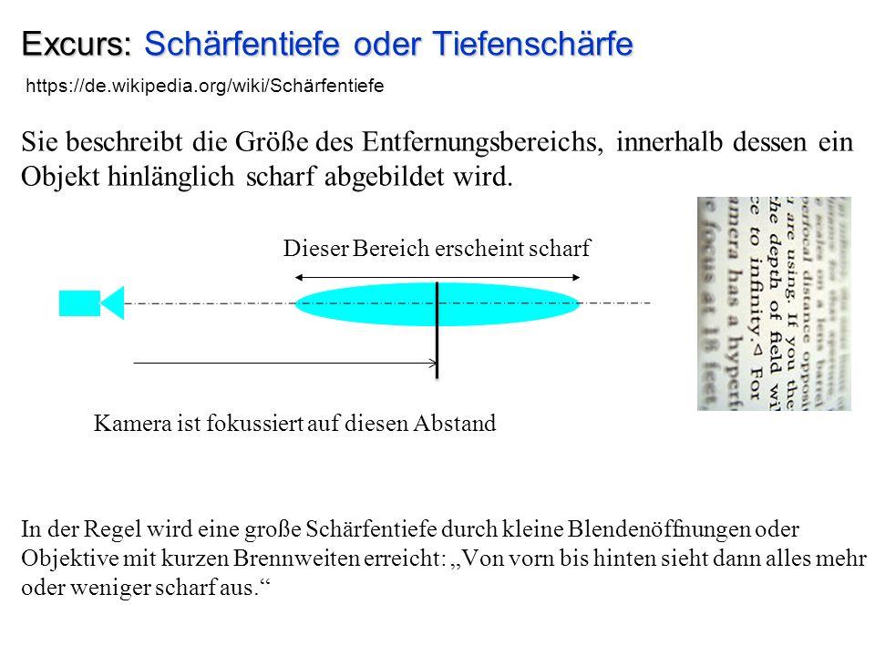 Excurs: Schärfentiefe oder Tiefenschärfe Sie beschreibt die Größe des Entfernungsbereichs, innerhalb dessen ein Objekt hinlänglich scharf abgebildet w