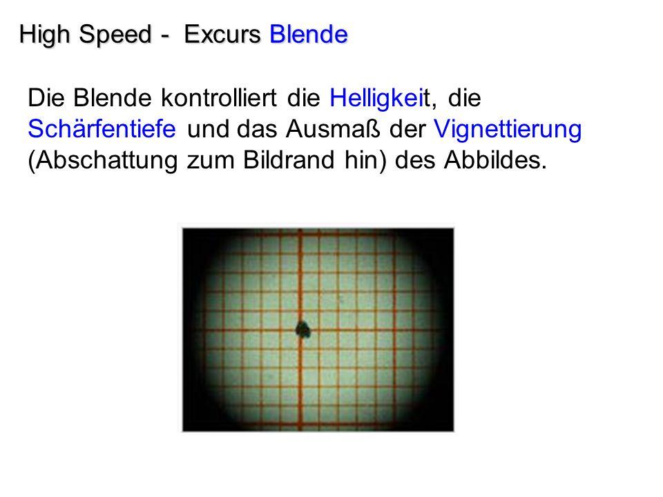 High Speed - Excurs Blende Die Blende kontrolliert die Helligkeit, die Schärfentiefe und das Ausmaß der Vignettierung (Abschattung zum Bildrand hin) d