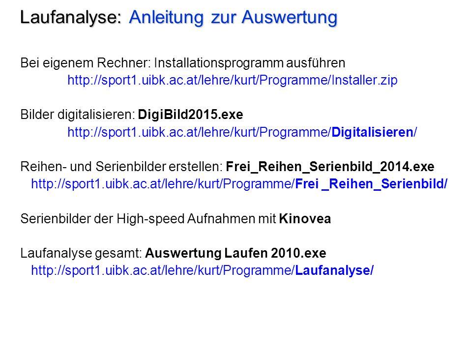 Laufanalyse: Anleitung zur Auswertung Bei eigenem Rechner: Installationsprogramm ausführen http://sport1.uibk.ac.at/lehre/kurt/Programme/Installer.zip