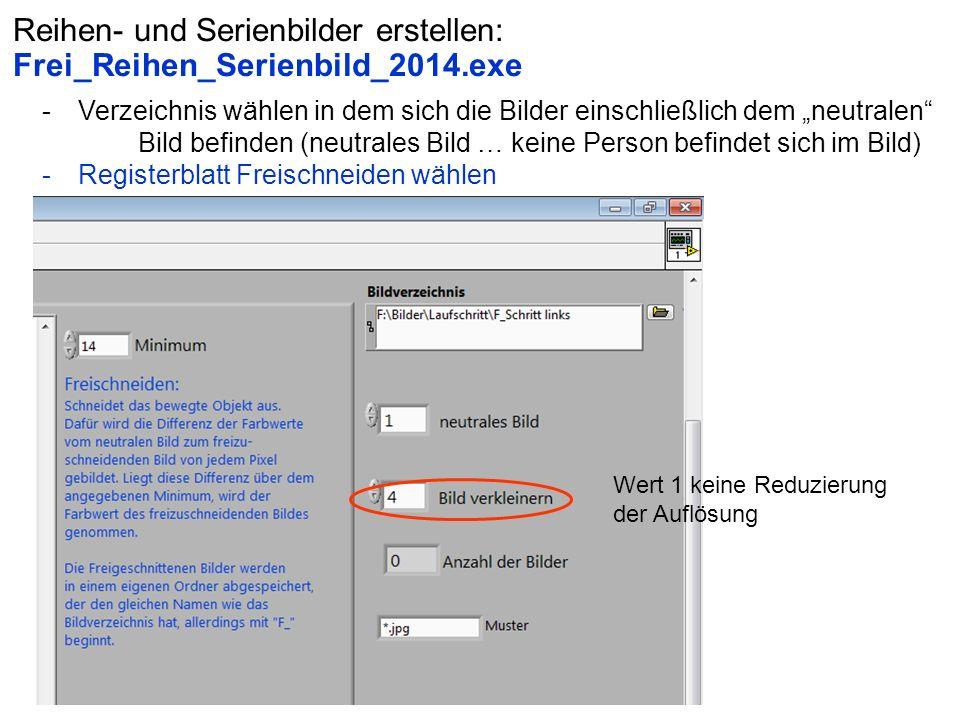 """Reihen- und Serienbilder erstellen: Frei_Reihen_Serienbild_2014.exe -Verzeichnis wählen in dem sich die Bilder einschließlich dem """"neutralen"""" Bild bef"""