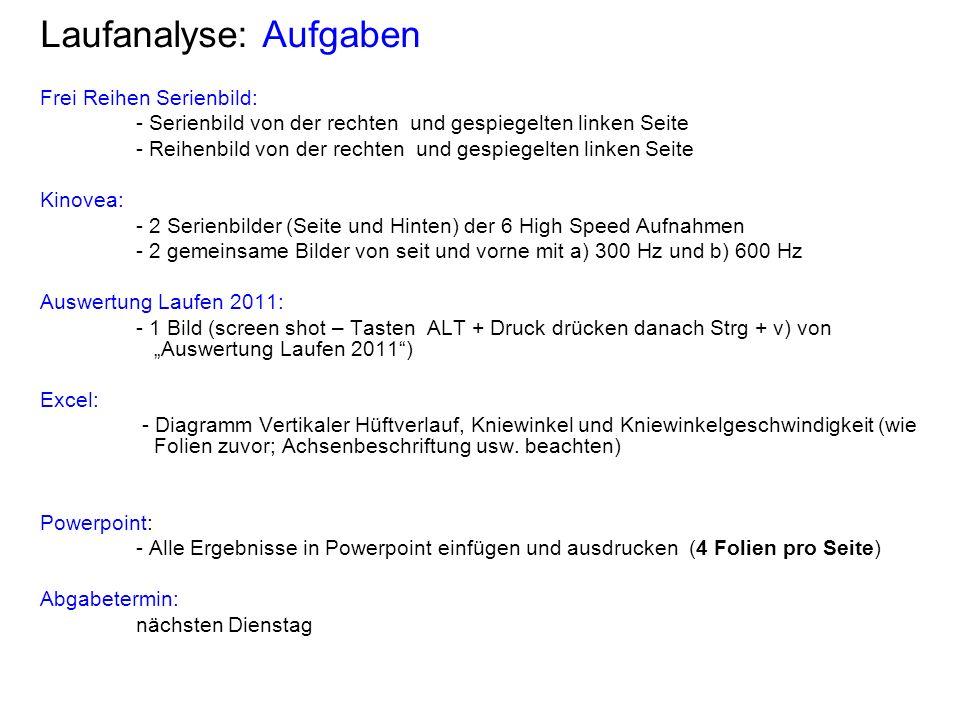 Laufanalyse: Aufgaben Frei Reihen Serienbild: - Serienbild von der rechten und gespiegelten linken Seite - Reihenbild von der rechten und gespiegelten